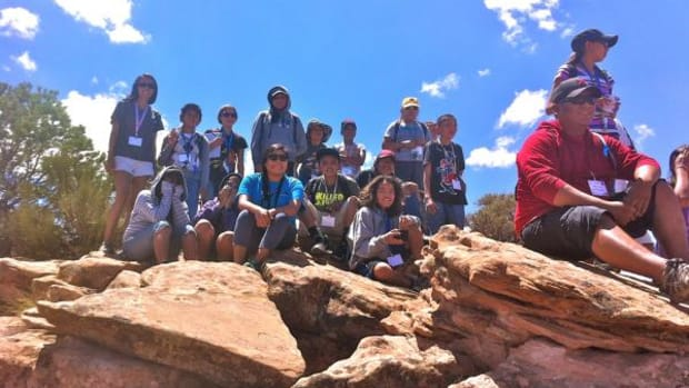 Students and counselors from the NASA and the Navajo Nation project's 2012 Summer Camp at Canyon de Chelly National Monument.