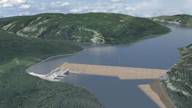 Artist's rendering of the controversial Site C dam in British Columbia, which would flood 20 square miles of traditional First Nations territory, much of it arable land.