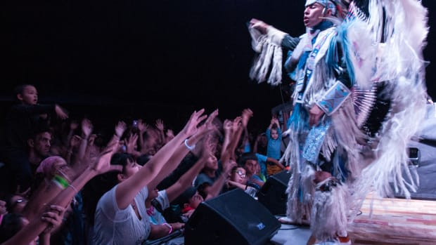 Supaman of the Crow nation hypes the crowd at Black Hills Unity Concert in 2015. Photo courtesy Matt Kelly