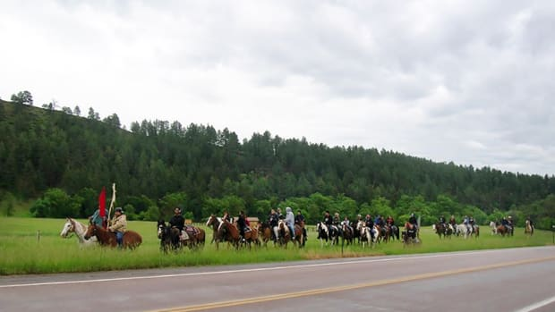 Slim Buttes Riders, a horseback riding group for Lakota Youth.