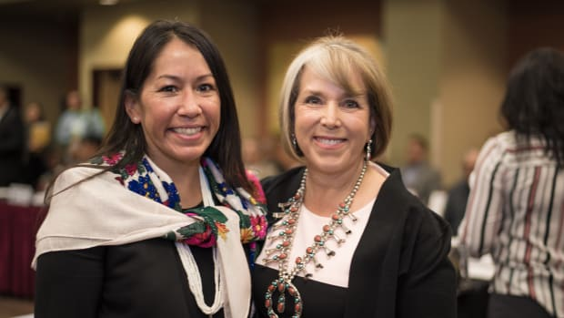 Pictured: New Mexico Indian Affairs Secretary Lynn Trujillo and Governor of New Mexico Michelle Lujan Grisham.