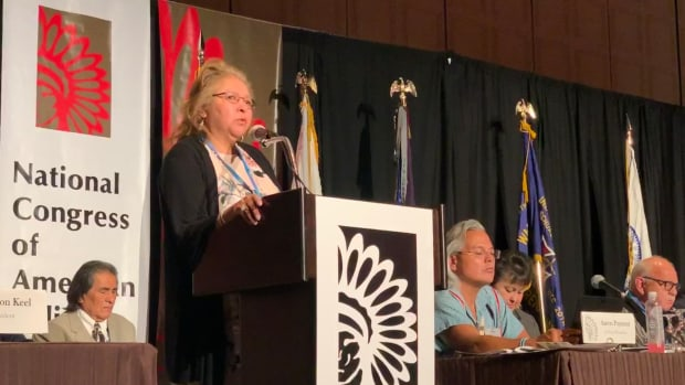 Dee Alexander, Tribal Affairs Coordinator of the Office of Congressional and Intergovernmental Affairs at the U.S. Census Bureau, speaks about the 2020 Census at the National Congress of American Indians' mid-year conference in Sparks, Nevada.