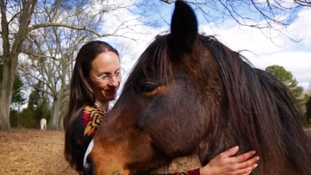 Dr. Yvette Running Horse Collin with one of her horses at the Sacred Way Sanctuary.