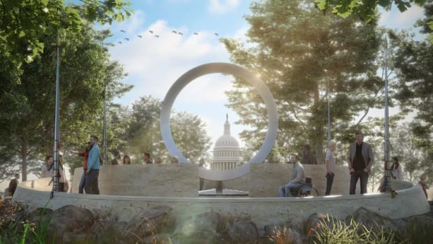 Artist rendition of the planned National Native American Veterans Memorial to be located at the National Museum of The American Indian in Washington, D.C.