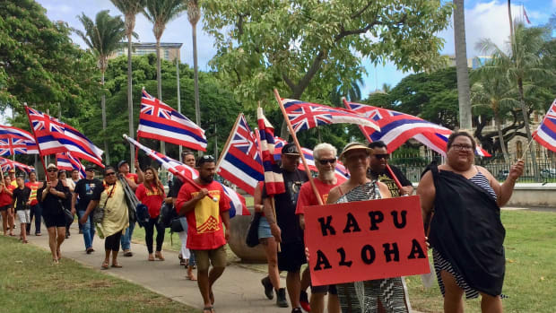 Hawaiians on their way to Counter Demonsration at State Capitol Thursday, Aug 1, 2019