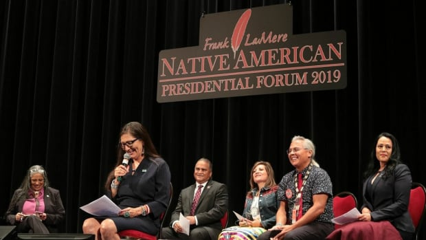 Pictured: U.S. Representative Deb Haaland at the Frank LeMere Native American Presidential Forum, August 2019.
