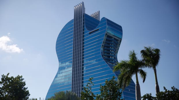 The guitar-shaped hotel is seen at the Seminole Hard Rock Hotel and Casino on Thursday, Oct. 24, 2019, in Hollywood, Fla. The Guitar Hotel's grand opening is on the tribe's land in Hollywood. It's the latest step in the Seminole Hard Rock empire, which includes naming rights on the Miami-area stadium where the 2020 Super Bowl will be played.