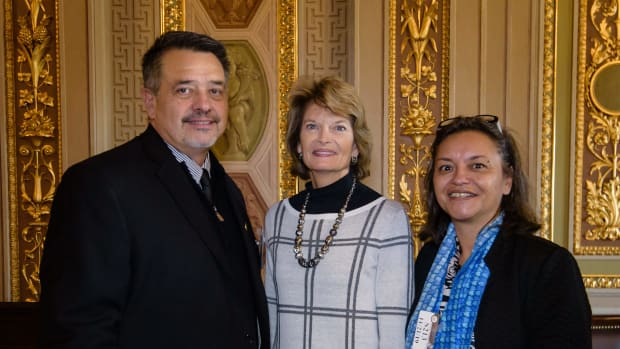 Pictured: Native CDFI Network Chairman Pete Upton, Senator Lisa Murkowski, and Native CDFI Network Policy Committee Chair Robin Danner meet on Capitol Hill during the inaugural Native CDFI Network Policy Summit in Washington, DC.