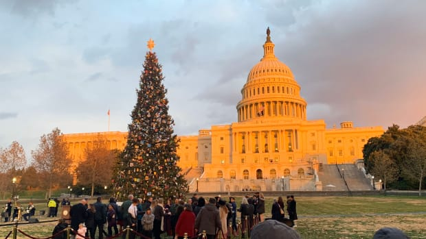 The sunset hit the Capitol building before the U.S. Capitol Christmas Tree Lighting Ceremony on Dec. 4.