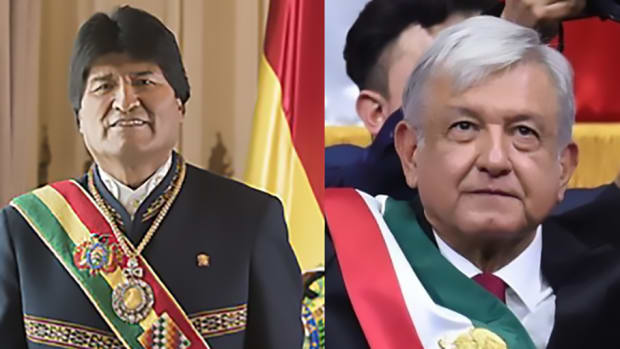 Pictured: Evo Morales, former President of Bolivia (L) and Andrés Manuel López Obrador, President of Mexico (R).