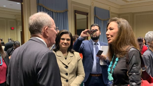 Sen. Lamar Alexander, R-Tennessee, speaks with Carrie Billy, the president and CEO of the American Indian Higher Education Consortium before the press conference about the FUTURE Act in December 2019. (Photo by Jourdan Bennett-Begaye)