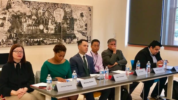 From left to right; Janice Palmer, Helios Foundation; Whitney Walker, Protecting Arizona's Family Coalition; Alec Thomson, Arizona Complete Count Committee; Jim Chang, Arizona State Demographer; Mark Trahant, Indian Country Today; Eduardo Sainz, Mi Familia Volta