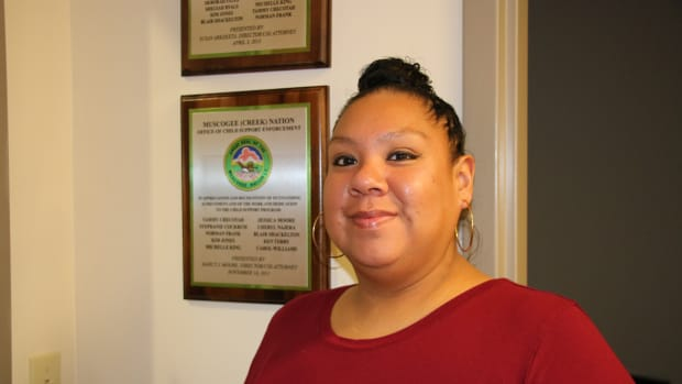 Meredith Good Voice (Muscogee (Creek) Citizen) has recently made the transition from a class III gaming dealer to social worker but she still worries how the legal battle between Oklahoma's Governor and the gaming tribes of Oklahoma could affect her former colleagues.