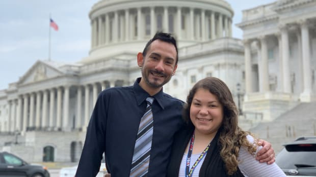 Samantha Bercier and Ronnie Morin of Turtle Mountain Community College shared their stories with their representatives.