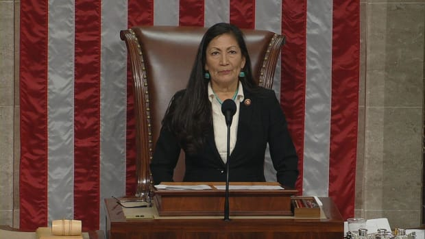 Rep. Deb Haaland, Laguna Pueblo, D-New Mexico, is the first Native American woman to preside over the U.S. House of Representatives. (House photo)