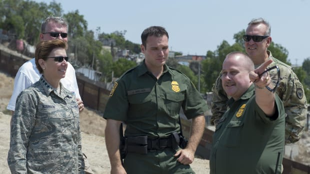 Gen. Lori Robinson, then-commander of the U.S. Northern Command, toured the Southwest border with Border Patrol agents near San Diego in this 2016 file photo. Soldiers have since been deployed to support border operations and had an encounter with Mexican soldiers this month. (Photo courtesy U.S. Northern Command)