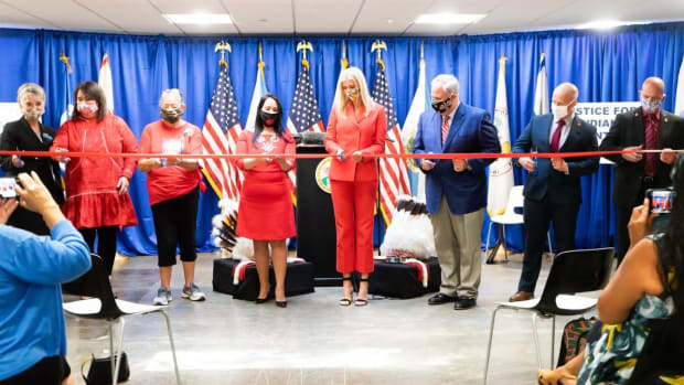 The U.S. Indian Affairs Twitter account posted a tweet and photo of Ivanka Trump visiting an opening of an MMIW cold case office. Trump has received criticism from Native leaders and other groups that the event was phony and a photo op. (Indian Affairs Twitter)