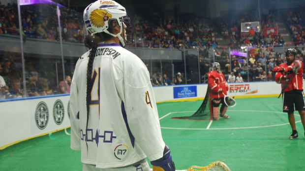 Lyle Thompson, Onondaga, of the Iroquois Nationals during the 2015 World Indoor Lacrosse Championships. (Photo by Jourdan Bennett-Begaye, Indian Country Today, File)