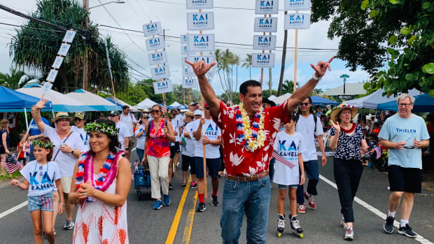 "Kaiali'i ""Kai"" Kahele attends the Kailua Parade in 2019. (Photo courtesy of Kai Kahele campaign website)"