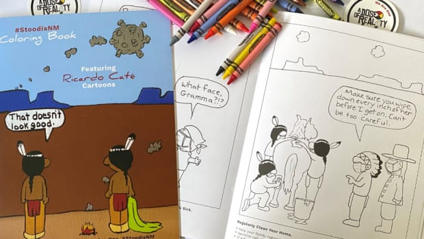 New Mexico coloring book developed to address COVID-19 in tribal communities. (Photo courtesy of New Mexico Indian Affairs Department, New Mexico Human Services Department)