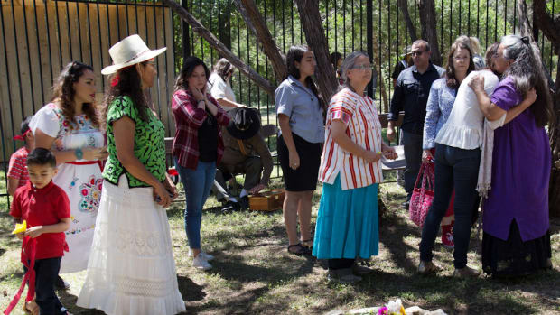 FILE: On May 5, 2017, participants depart the first reburial ceremony of one ancestor's remains at the newly established Sacred Springs Reburial Grounds in San Marcos, Texas. (Photo by Paula Manley, courtesy Miakan-Garza Band of the Coahuiltecan)