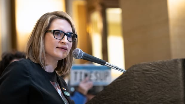 Lieutenant Governor Peggy Flanagan speaking at an International Women's Day ERA Rally at the Capitol in St. Paul, Minnesota (File photo by Lorie Shaull, Creative Commons)