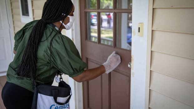 The Census Bureau requires that census takers wear a mask while conducting their work. They will follow CDC and local public health guidelines when they visit. (Photo by Census Bureau)