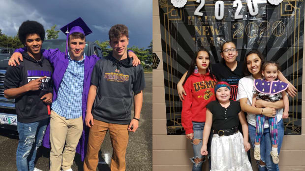Left photo: Josiah Niblett (center) with friend Sammy Grayson (left)and brother Noah (right). Right photo: Hannah Schroeder (right, holding little sister Adaline Schroeder) with her family at the New Year's Eve Round Dance in Klamath Falls. (Photos couresty of Anne Niblett and Hannah Schroeder)