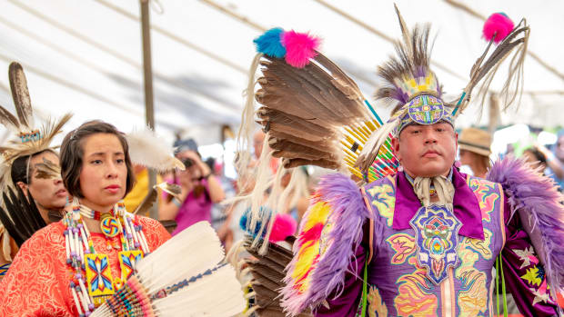 Pictured: Hauli Sioux and Cecil Gray will once again be the Head Lady and Head Man dancers at the virtual powwow.