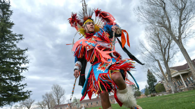 Dancer John Rupert performs at the 2016 Father's Day Pow Wow in Carson City