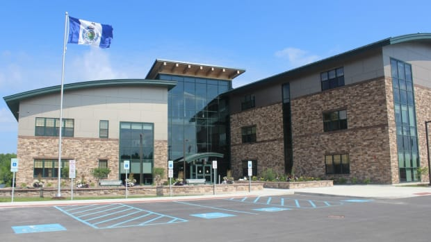 Pictured: Saint Regis Mohawk Tribe's Ionkwakiokwaró:ron Tribal Administration Building, Akwesasne, New York.