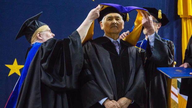 In 2018, the University of Alaska Fairbanks recognized Jacob Adams for service and contributions to this state and awarded him an honorary doctor of laws degree. (Photo by Bill Hess, courtesy of The Arctic Sounder)