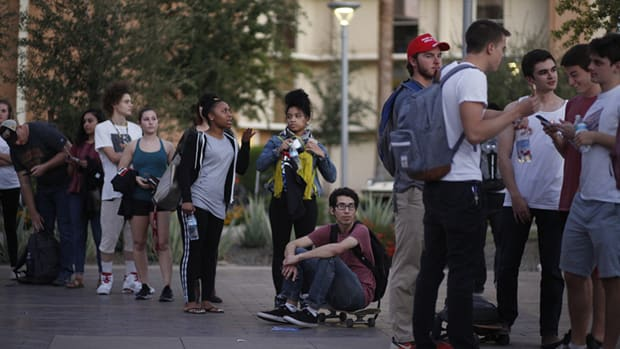 Arizona State University students on the Tempe campus wait to vote in the 2018 midterms. Garrett Archer, a data analyst, calls the better-than-usual turnout of young voters in 2018 surprising. (File photo by Anya Magnuson/Cronkite News)