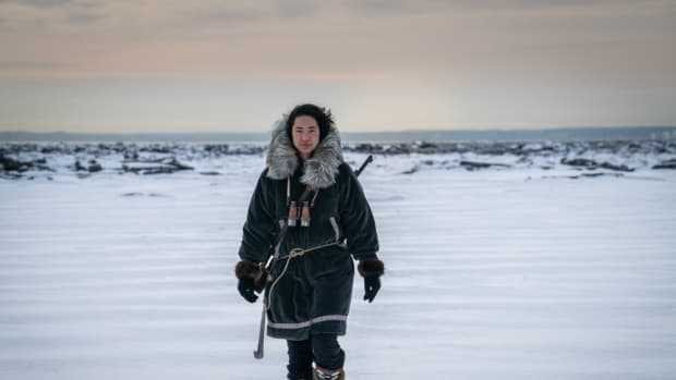 """The main character of the short film """"Ada Blackjack Rising"""" is played by Adelaine Aklaasiaq Ahmasuk, Inupiaq. (Photo by Michael Conti, courtesy of 3 Peaks)."""