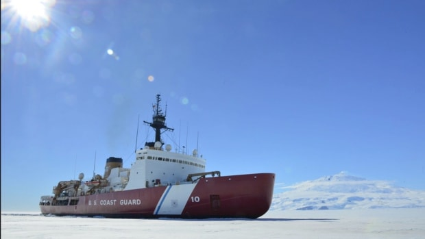 The Coast Guard Cutter Polar Star breaks ice in McMurdo Sound near Antarctica on Saturday, Jan. 13, 2018. The crew of the Seattle-based Polar Star is on deployment to Antarctica in support of Operation Deep Freeze 2018, the U.S. military's contribution to the National Science Foundation-managed U.S. Antarctic Program. (U.S. Coast Guard photo by Chief Petty Officer Nick Ameen.