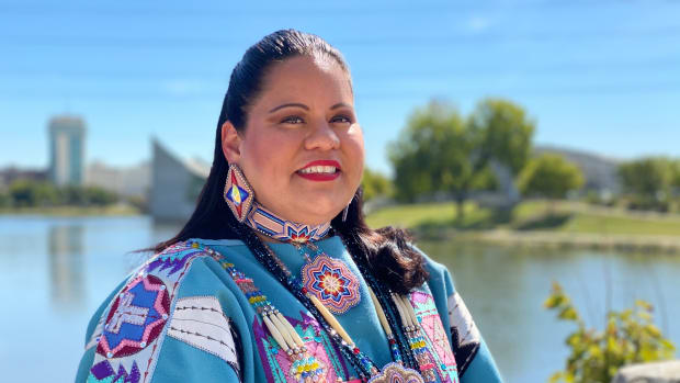 Dr. Ponka-We Victors, Tohono O'odham and Ponca, is running for her sixth term in the Kansas State Legislature in District 103. She talked about her 10-year service as an elected state official on September 29, 2020 in Wichita, Kansas. (Photo by Jourdan Bennett-Begaye, Indian Country Today)