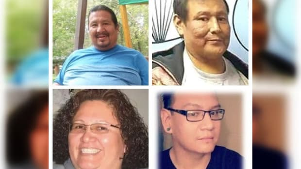 """From top left to right: Kenneth L. Jewett Jr. and Wesley D. """"Shep"""" Fire Cloud. From bottom left to right: Ethel Rose Left Hand Bull and Randolph """"Randy"""" His Law Jr. All four family members tested positive for COVID-19 and died within months of each other.(Photo courtesy of Janice Howe Adrian)"""