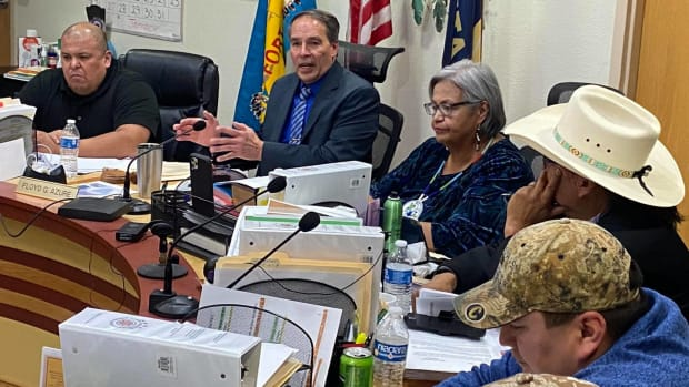 Fort Peck Tribal Chairman Floyd Azure (top middle) was suspended by the Fort Peck Assiniboine and Sioux Tribal Executive Board on Nov. 5, 2020. (Photo courtesy of Tribal Times News)
