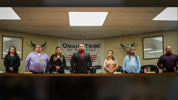 The Omaha Tribe of Nebraska has new 2020 leadership. (L-R) Treasurer Jazelle Miller, council member Carlton Edwards, Vice-Chairwoman Cheyenne Robinson, Chairman Everett Baxter Jr., Secretary Gwen Porter, council members Alan Harlan and Jerome Hamilton. (Photo courtesy of Omaha Tribe of Nebraska Facebook)