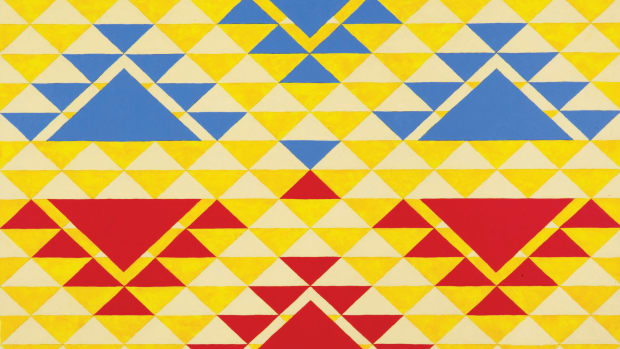 """This design by Fox Spears, Karuk, is based on a """"people sitting around a fire"""" 1937 basket design by Dora Davis of California. It is one of five works picked for a Wells Fargo credit card design. (Photo courtesy of Wells Fargo)"""