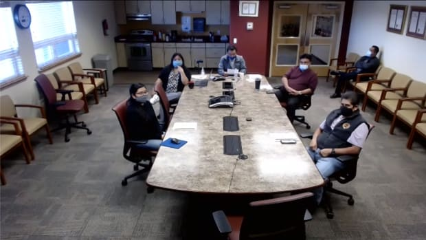 San Felipe Pueblo Gov. Anthony Ortiz and his administration speak virtually to reporters during a Monday press conference. (Screenshot from press conference)