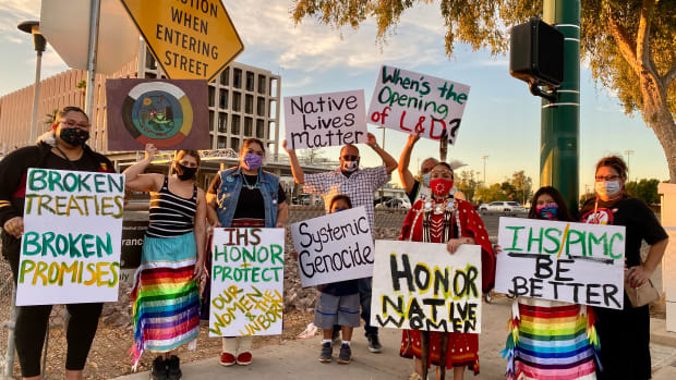 About a dozen concerned citizens protested Thursday, Nov. 19, 2020 against the recent closing of the Phoenix Indian Medical Center's birthing center. (Photo by Dalton Walker, Indian Country Today)