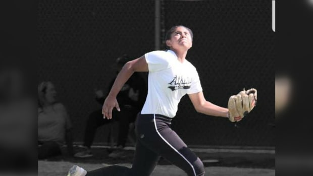 Mikayla Prudholme has her eye on the ball – and on a college scholarship. The four-year varsity starter from Tustin, California, has been traveling with her club team since August. So far, she has played six tournaments in Arizona. (Photo courtesy of Brenda Leon)