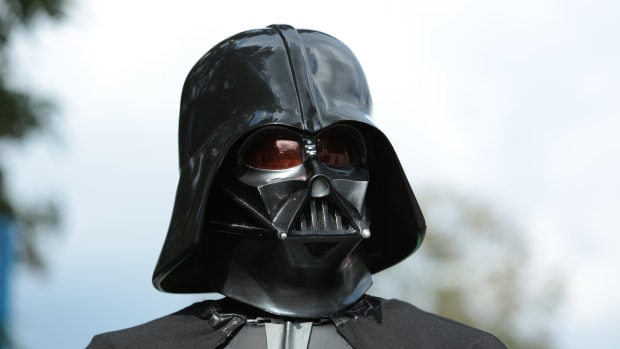 Darth Vader visits German Aerospace Day in Cologne, and tries to take visitors 'to the dark side'. (Photo via Creative Commons)