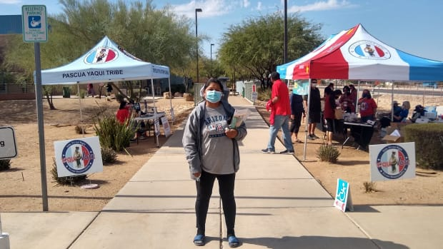 """Priscilla Coronado Madrid, a member of the Pascua Yaqui Tribe, cast her vote for Democrat Joe Biden on Election Day. She was a cashier at a Shell gas station before the pandemic cost her her job. """"We're still trying to get back on our feet,"""" she says. (Photo by Franco LaTona/Cronkite News)"""