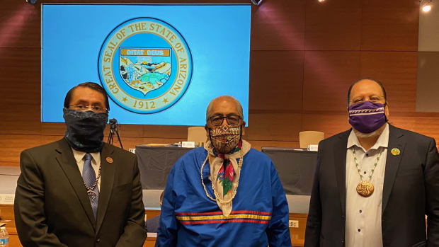 Left to right: Navajo Nation President Jonathan Nez, Tohono O'odham Nation Chairman Ned Norris Jr. and Gila River Indian Community Gov. Stephen Roe Lewis cast three of Arizona's electoral college votes. (Photo from President Jonathan Nez, Twitter)