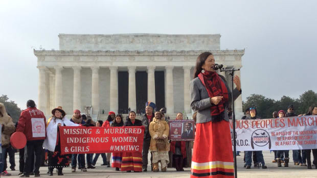 New Mexico Rep. Deb Haaland, Pueblos of Laguna and Jemez, speaks at the Indigenous Peoples March in front of the Lincoln Memorial in Washington, D.C., in January 18, 2019. (Photo by Jourdan Bennett-Begaye, Indian Country Today, File)