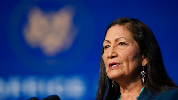 The Biden administration's nominee for Secretary of Interior, Rep. Deb Haaland, D-N.M., speaks at The Queen Theater in Wilmington Del., Saturday, Dec. 19, 2020. (AP Photo/Carolyn Kaster)