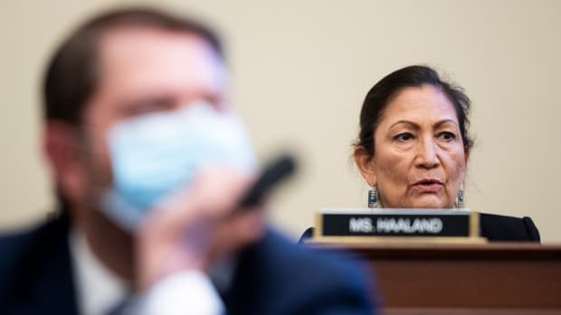 Rep. Deb Haaland, D-N.M., questions Acting U.S. Park Police Chief Gregory T. Monahan, during a House Natural Resources Committee hearing on actions taken on June 1, 2020 at Lafayette Square, Tuesday, July 28, 2020 on Capitol Hill in Washington. (Bill Clark/Pool via AP)