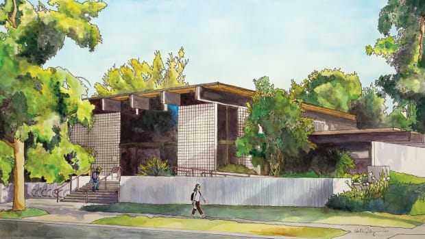 An illustration by artist Hollis Cooper depicts the Huntley Building–currently a bookstore serving the Claremont Colleges' seven schools–future home of the Yuhaaviatam Center for Health Studies. (Image courtesy of Claremont Graduate University)
